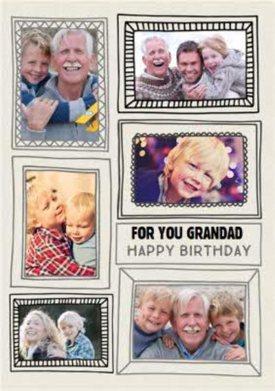 Multi Photo Frame Personalised Birthday Card For Grandad