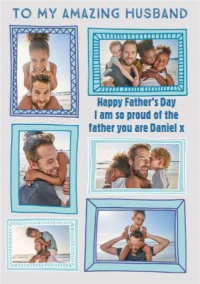 Proud Of You Husband Photo Upload Father's Day Card