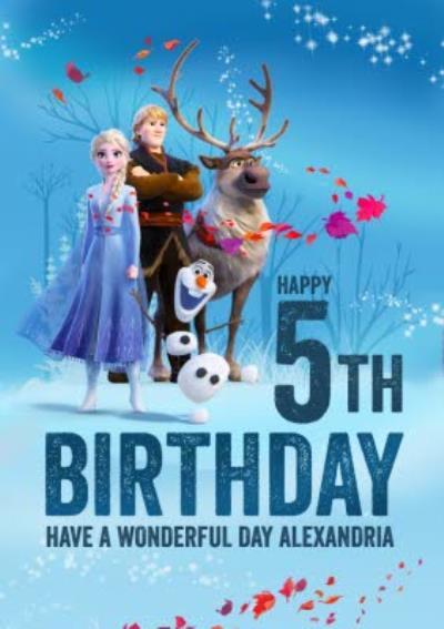 Disney Frozen 2 Elsa Anna Kristoff Sven Olaf 5th Birthday Card