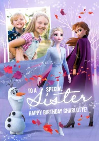 Disney Frozen 2 Special Sister Photo Upload Birthday Card