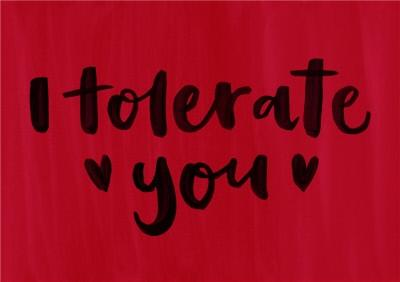 Brush Lettering I Tolerate You Card