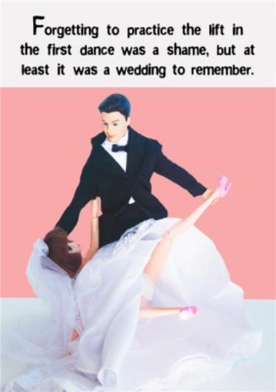 Photo Humour Male And Female Dolls Wedding Dance Fail Card