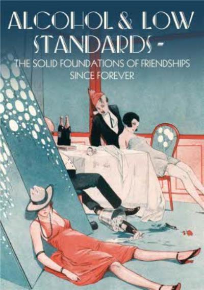Alcohol & Low Standards Retro Birthday Card