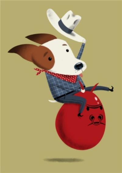 Modern Cute Illustration Cowboy Dog On Space Hopper Card