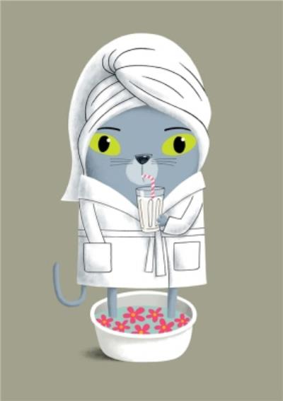 Modern Cute Illustration Pampered Cat Spa Card