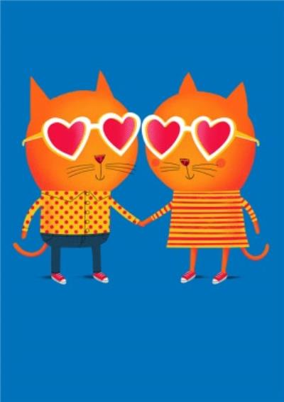 Modern Cute Illustration Love Cats Anniversary Card