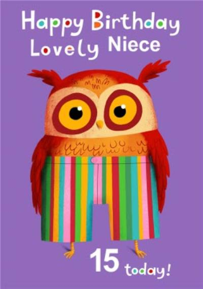 Funky Owl Wearing Stripy Colourful Shorts Personalise Age Niece Birthday Card