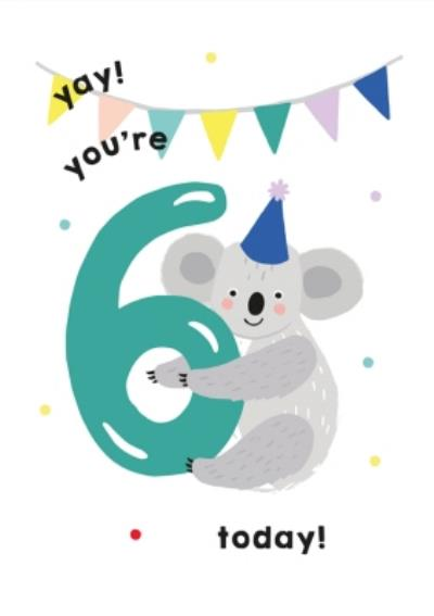 Illustrated Cute Koala Party Hat Yay Youre 6 Today Birthday Card