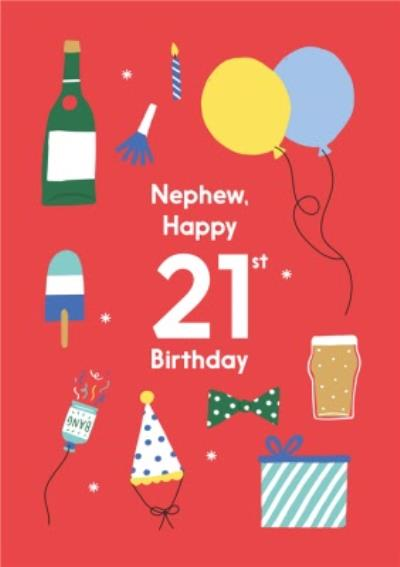 Illustrated Cute Party Balloons Nephew Happy 21st Birthday Card