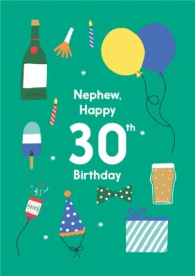Illustrated Cute Party Balloons Nephew Happy 30th Birthday Card