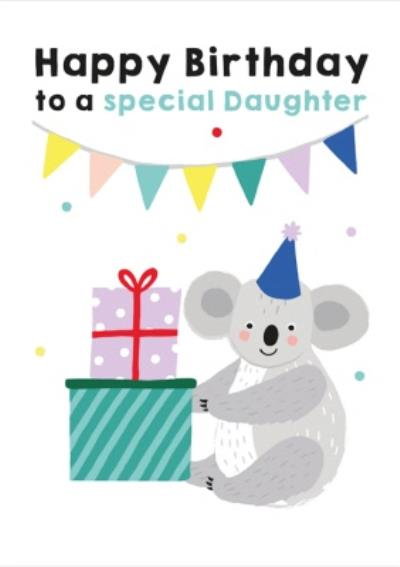 Illustrated Cute Party Hat Koala Happy Birthday To A Special Daughter