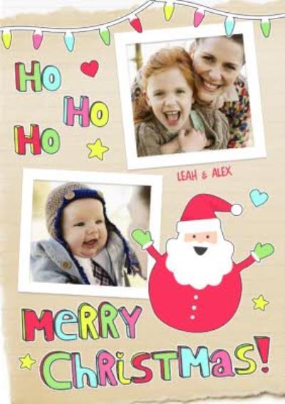 Ho Ho Ho Personalised Double Photo Upload Merry Christmas Card