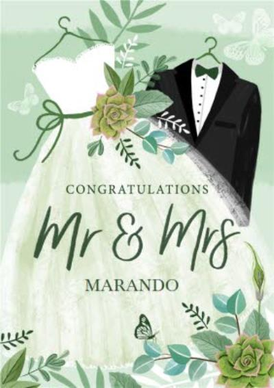 Illustrated Wedding Dress Wedding Suit Floral Mr And Mrs Wedding Card