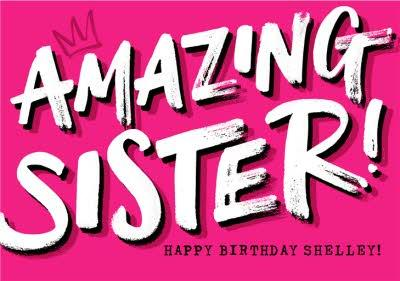 Amazing Sister Bright Pink Typographic Birthday Card