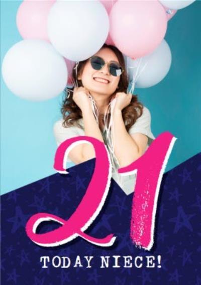 Bright Typographic Photo Upload 21st Birthday Card
