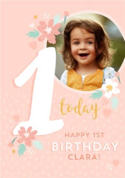 Cute Photo upload 1st Birthday Card