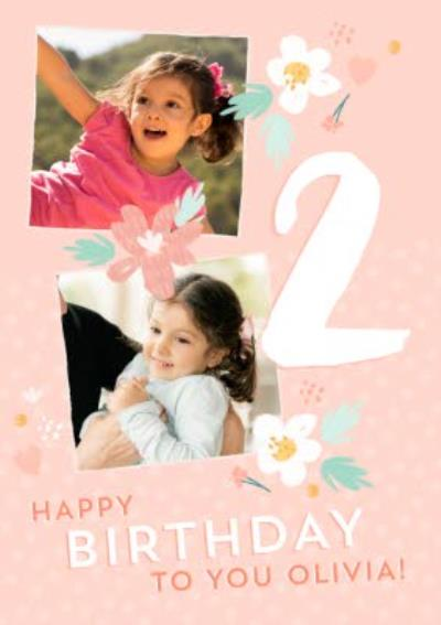 Modern Illustrated Photo upload 2nd Birthday Card