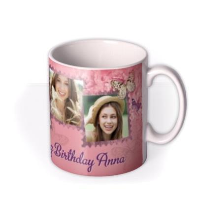 Peony & Butterfly Personalised Text Photo Upload Mug