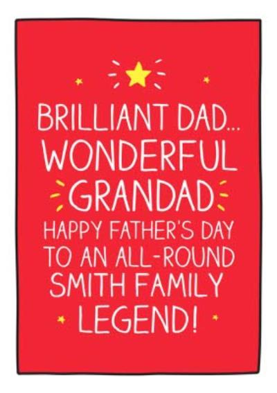 Happy Jackson To A Legend Happy Father's Day Card