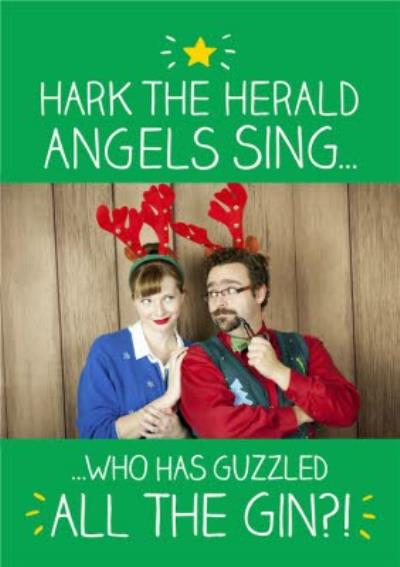 Hark The Herald Angels Sing And Gin Personalised Photo Upload Christmas Card