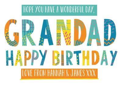 Bright Patterned Letters Grandad Happy Birthday Card