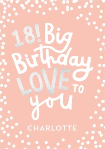 Typographic 18 Big Birthday Love To You Card