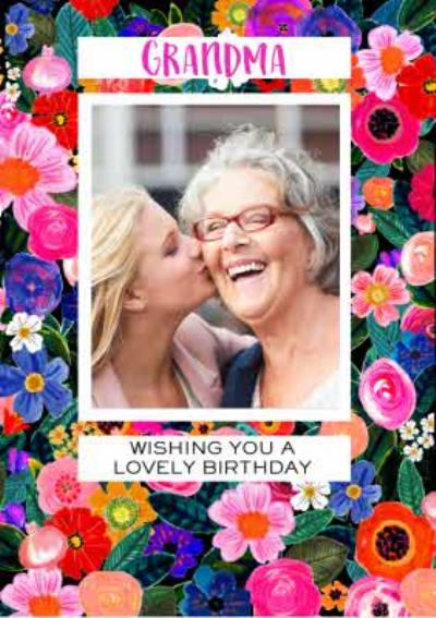 Birthday Card - Grandma - Floral Photo Upload Card