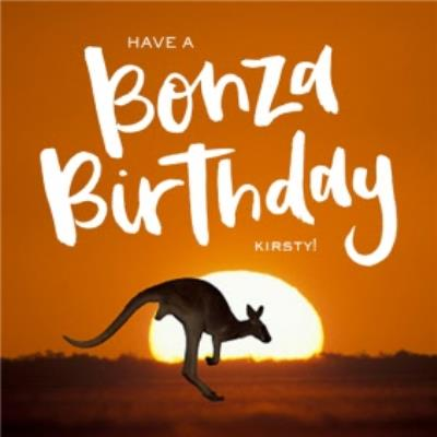 Kangaroo At Sunset Personalised Birthday Card