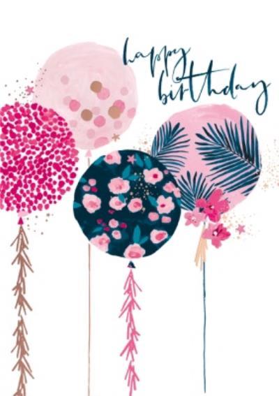 Fun Pink Balloons Happy Birthday Card