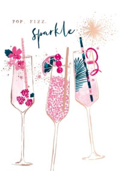 Pink Cocktails Pop Fizz Sparkle Card