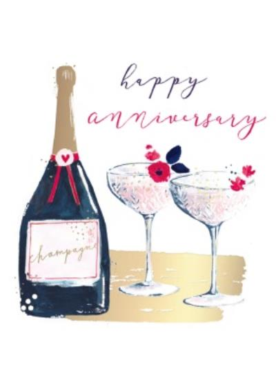 Painted Champagne Happy Anniversary Card