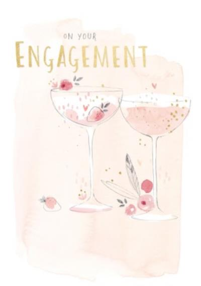 Champagne Glasses On Your Engagment Card