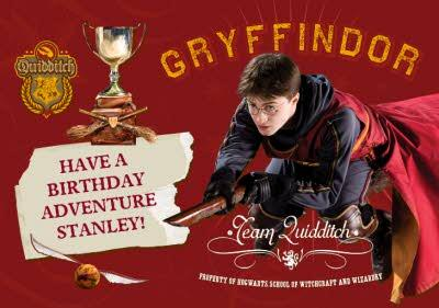 Harry Potter Quidditch Card With Cup Personalised Happy Birthday Card