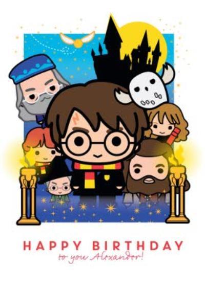 Harry Potter cartoon birthday card