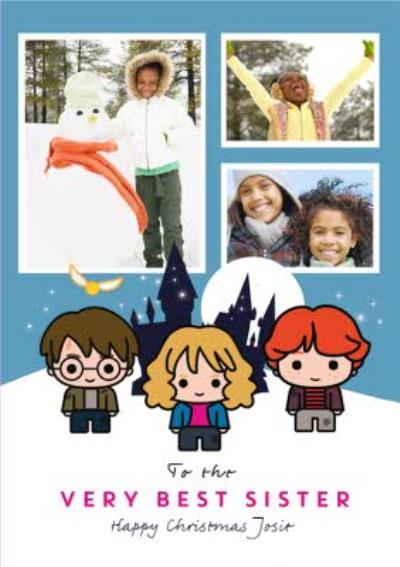Harry Potter Cartoon To The Very Best Sister Photo Upload Christmas Card
