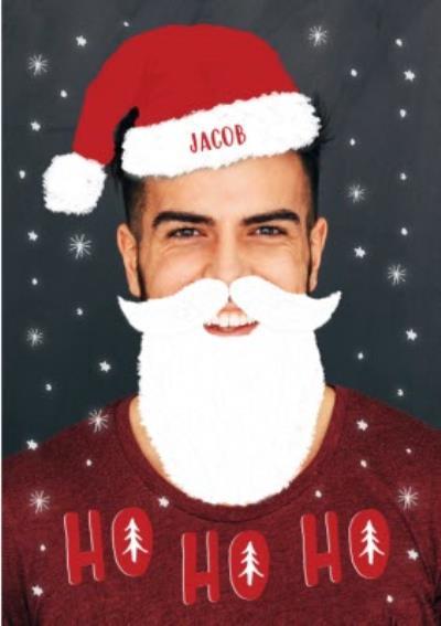 Ho Ho Ho Christmas Beard Photo Upload Card
