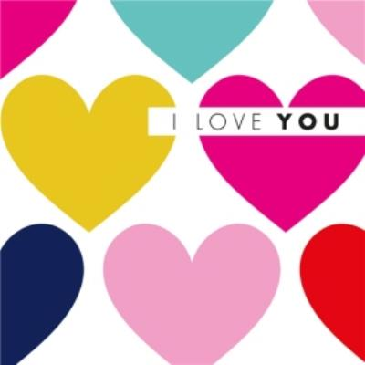 Modern Abstract Coloured Large Hearts I Love You Valentines Card