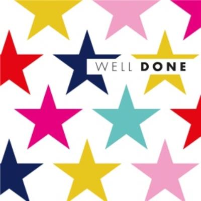 Modern Abstract Coloured Small Stars Well Done Card