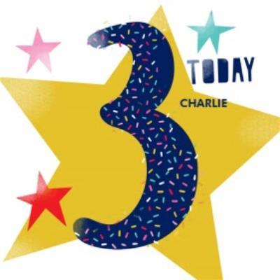 Large Blue 3 Sprinkles And Stars Birthday Card