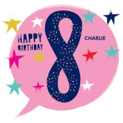 Large 8 Sprinkles And Stars Birthday Card