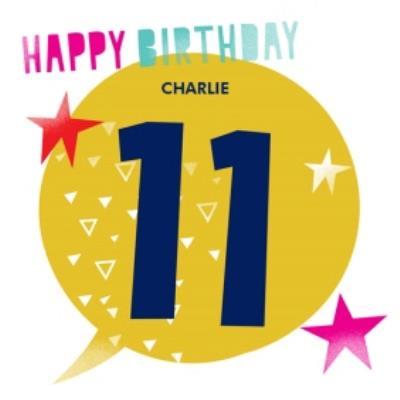 Large 11 Yellow Speech Bubble Birthday Card