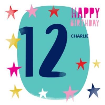 Circle And Stars Large 12 Birthday Card