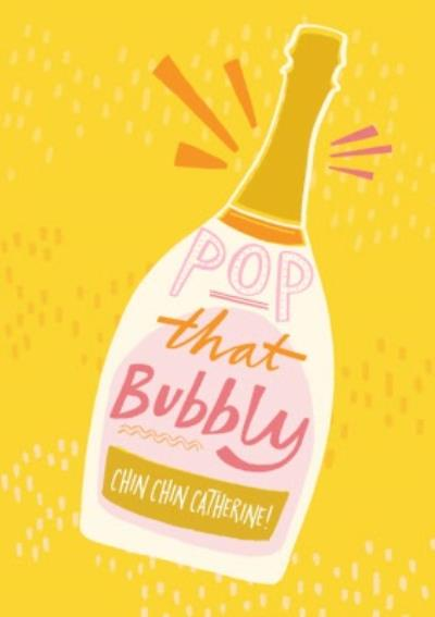 Retro Champagne Bottle Pop That Bubbly Birthday Card