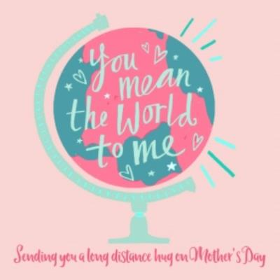 Retro Globe Design Sending You A Long Distance Hug On Mother's Day Card