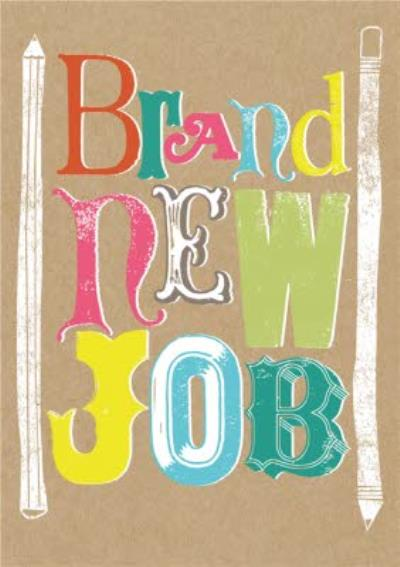 Funky Lettering And Pencils Personalised Brand New Job Card