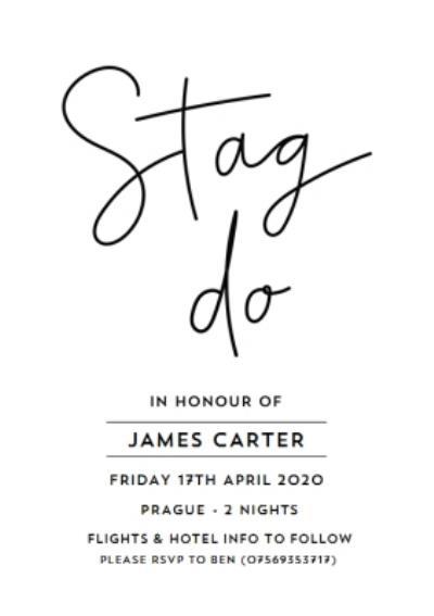 Typographic Wedding Stag Do Invitation Card