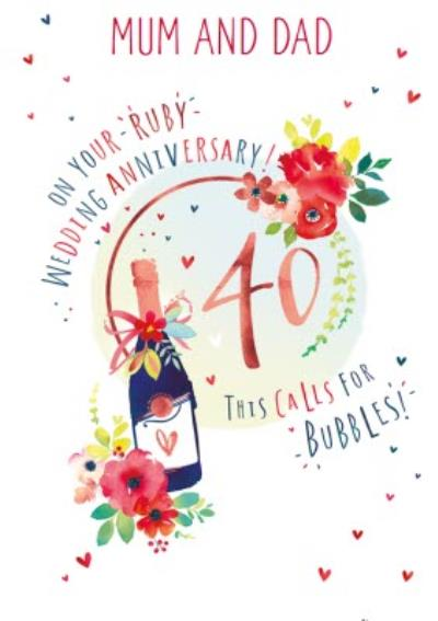 Mum And Dad 40th Ruby Wedding Anniversary Champagne Card