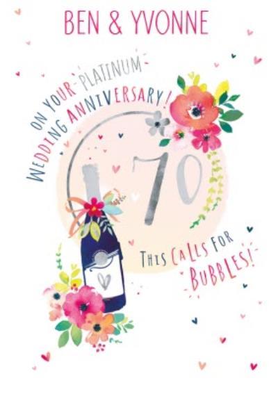 70th Platinum Wedding Anniversary Champagne Card