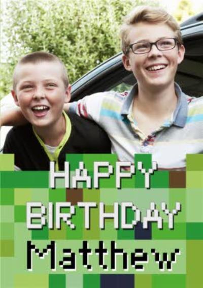 Gaming Photo Upload Birthday Card  - Video Game - Minecraft