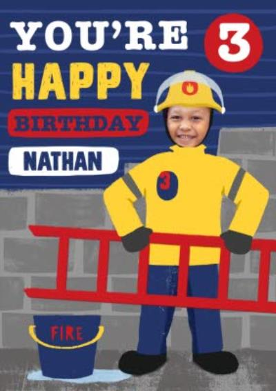 Firefighter Photo Upload 3 today 3rd Birthday Card